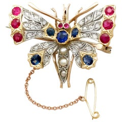 Antique Pearl Sapphire Ruby and Diamond Gold Butterfly Brooch