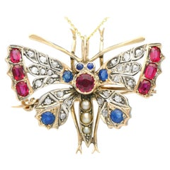 Antique Pearl Sapphire Ruby and Diamond Yellow Gold Butterfly Pendant/Brooch