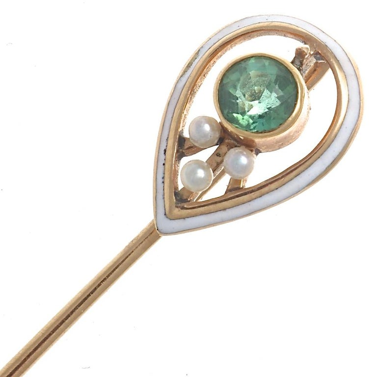 Antique Pearl Tourmaline Gold Pin In Excellent Condition For Sale In Beverly Hills, CA