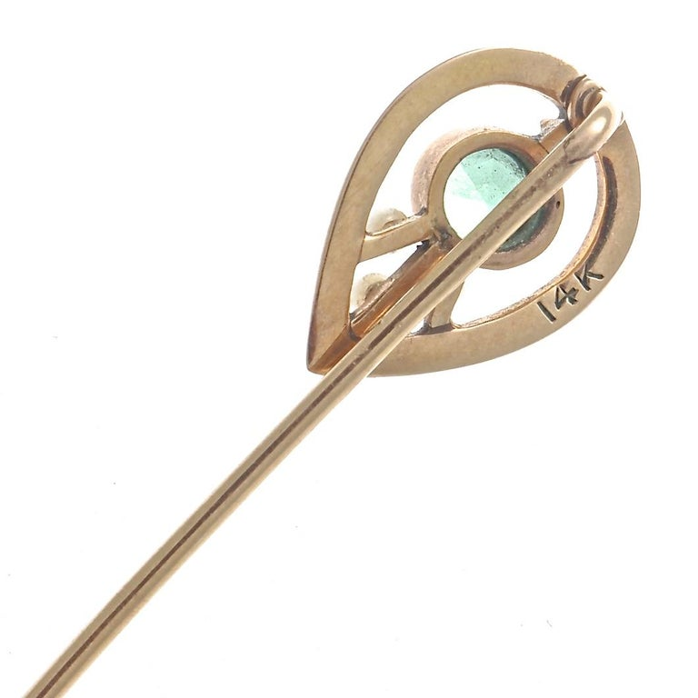 Women's Antique Pearl Tourmaline Gold Pin For Sale