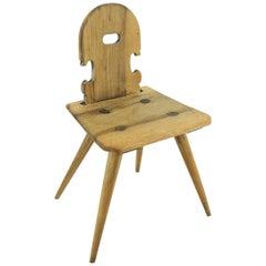 Antique Peasant Walnut Chair, circa 1850