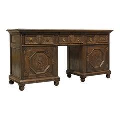 Antique Pedestal Desk, English, Oak, Georgian, 18th Century, circa 1800
