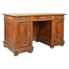 Antique Pedestal Desk, French, 19th Century, Walnut, Leather Top, circa 1880