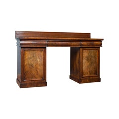 Antique Pedestal Sideboard English Mahogany, Flame, Dresser, Regency, circa 1810