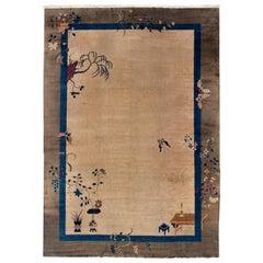 Antique Peking Beige and Brown Chinese Handmade Wool Rug