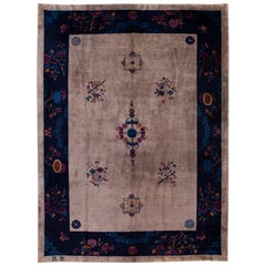Antique Peking Blue and Brown Chinese Handmade Medallion Wool Rug