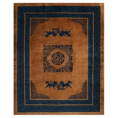 Antique Peking Blue and Copper Brown Wool Rug with Rare Kirin Designs
