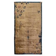 Antique Peking Brown Handmade Chinese Floral Wool Runner Rug