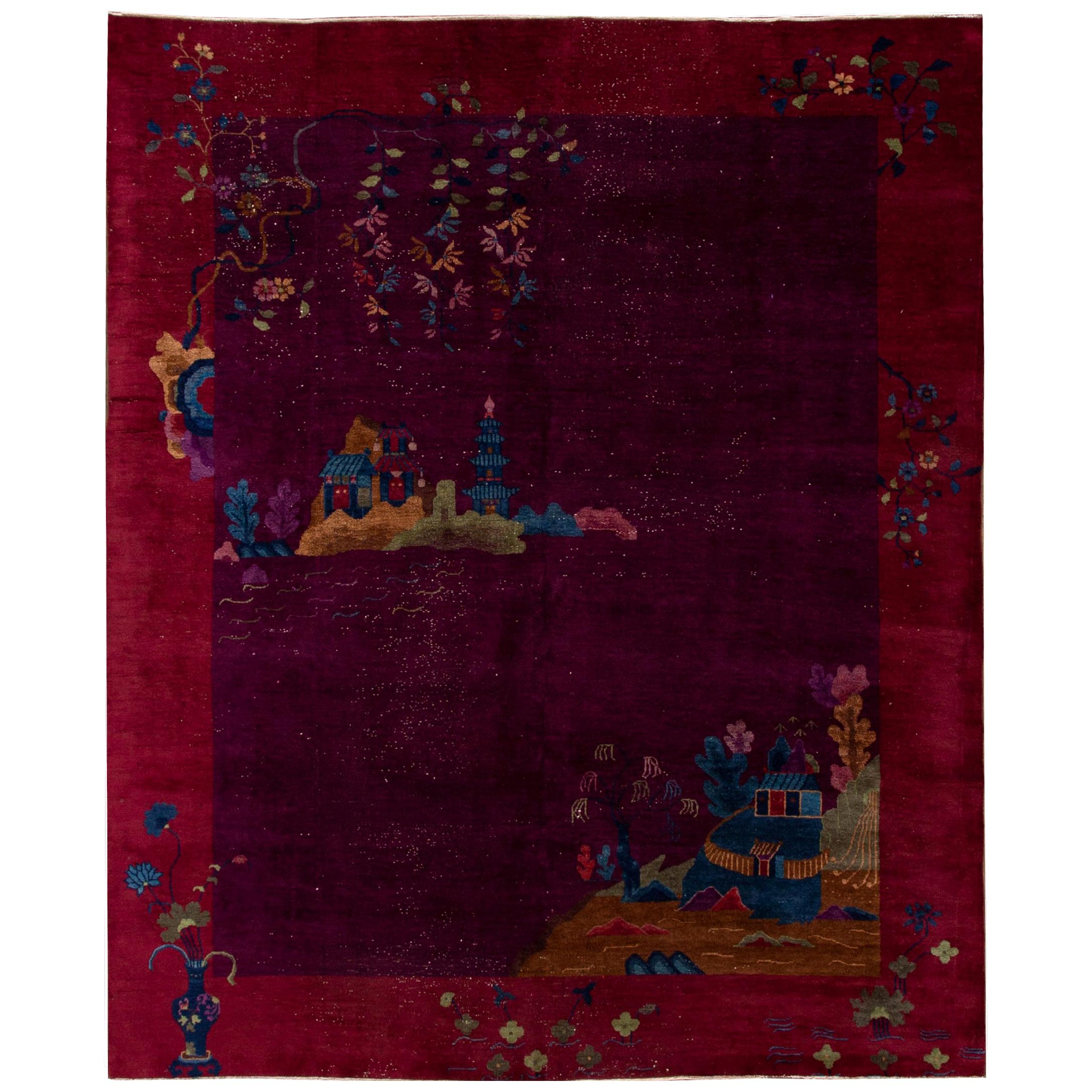 Antique Peking Burgundy Chinese Handmade Wool Rug