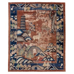 Antique Peking Distressed Brown and Blue Chinese Handmade Wool Rug