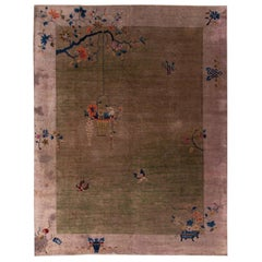 Antique Peking Green and Brown Chinese Handmade Wool Rug