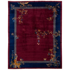 Antique Peking Handmade Burgundy and Blue Chinese Wool Rug