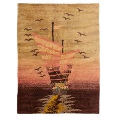 Antique Peking Handmade Pictorial Chinese Brown Wool Rug
