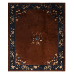 Antique Peking Medallion Brown and Blue Wool Floral Rug