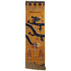 Antique Tibetan Khaten Traditional Gold and Blue Wool Rug with Dragon Motifs