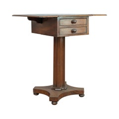 Antique Pembroke Work Table, English, Victorian, Flame Mahogany, Drop Flap