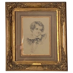 Antique Pencil Drawing Eugène Louis Lami 1800-1890 Portait of a Boy, France