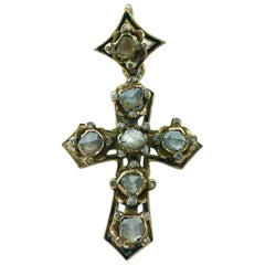 Antique Pendant Cross Rose Cut Diamond Black Lacquer Yellow Gold Earring