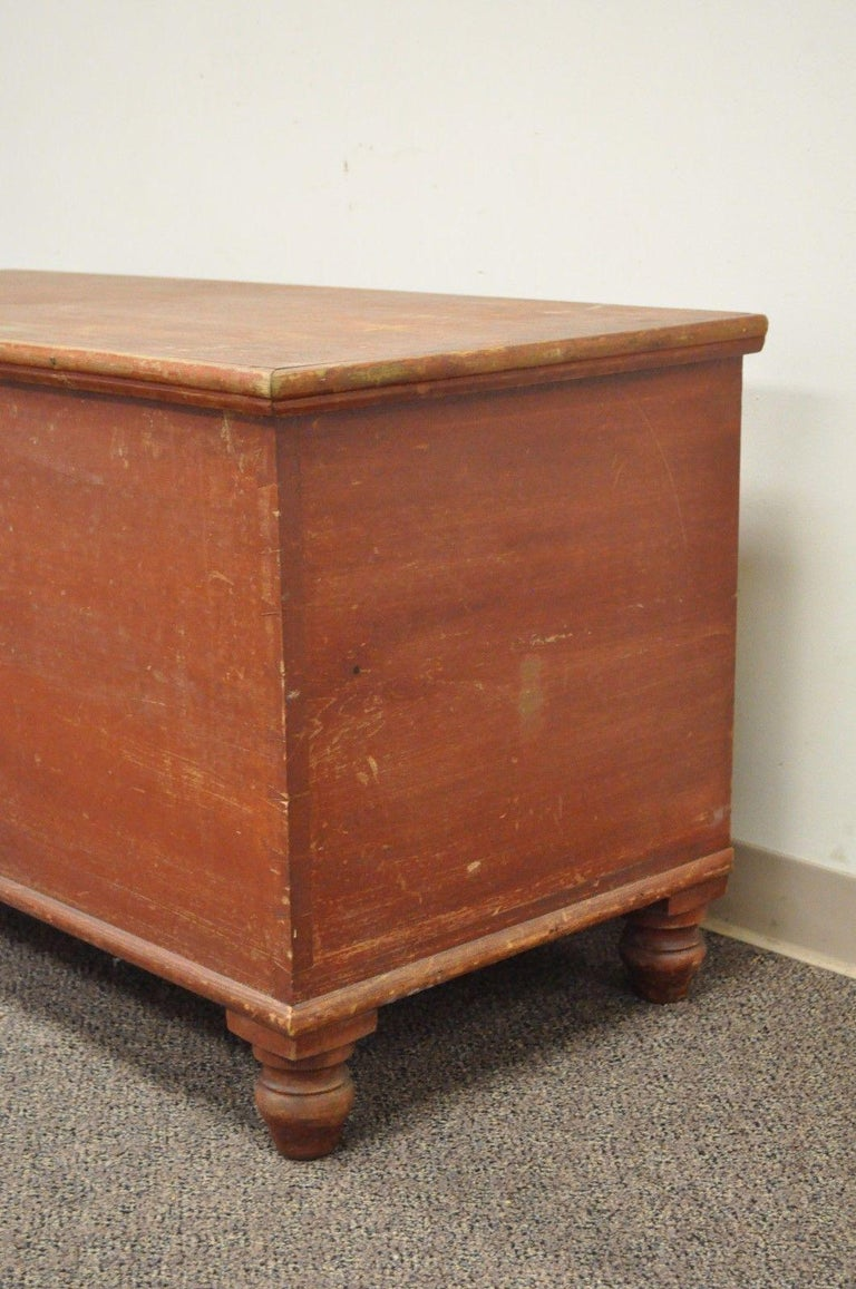 American Antique Pennsylvania Dovetailed Red Painted Rustic Primitive Blanket Chest Trunk For Sale
