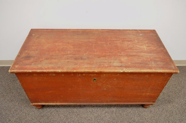 19th Century Antique Pennsylvania Dovetailed Red Painted Rustic Primitive Blanket Chest Trunk For Sale
