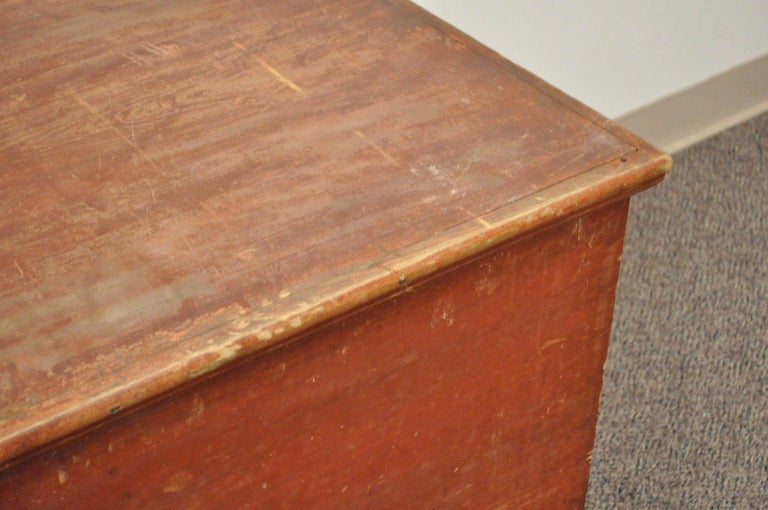 Pine Antique Pennsylvania Dovetailed Red Painted Rustic Primitive Blanket Chest Trunk For Sale