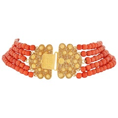 Antique Peranakan Coral Strung Gold Necklace