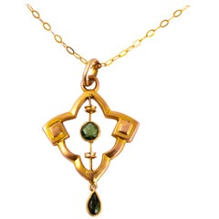 Antique Peridot and 9 Carat Gold Pendant and Chain