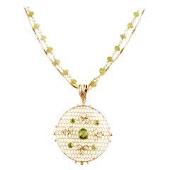 Antique Peridot and Diamond Medallion