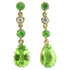 Antique Peridot, Diamond and Gold Earrings
