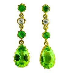 Antique Peridot, Diamond and Gold Earrings