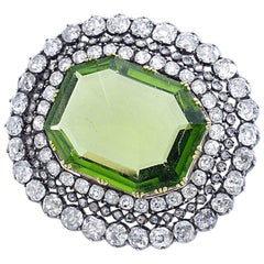 Antique Peridot Diamond Brooch