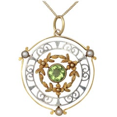 Antique Peridot and Pearl, Yellow Gold and White Gold Pendant