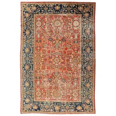 Antique Persian, 19th Century Sultanabad Rug in Red, Blue, Gold and Green