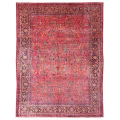 Antique Persian All-Over Kashan Rug with Leaf and Bird Pattern in Red & Blue