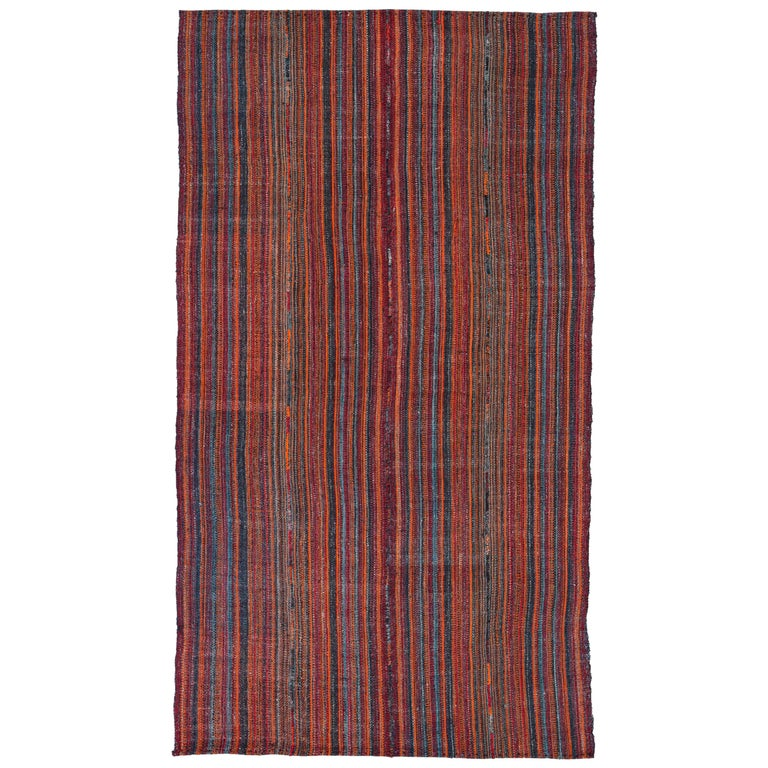 Antique Persian Area Rug Jajim Design For Sale