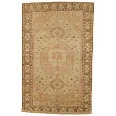 Antique Persian Azerbaijan Rug with Brown and Pink Tribal Details