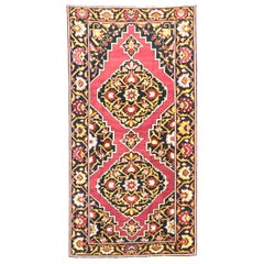 Antique Persian Azerbaijan Area Rug with Floral Pattern on a Black Field