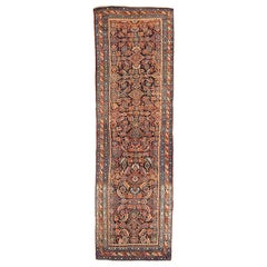 Antique Persian Azerbaijan Runner Rug with Ivory and Blue Floral Details
