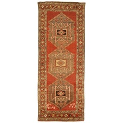 Antique Persian Azerbaijan Runner Rug with Tribal Design on Red Field