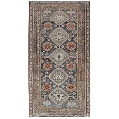 Antique Persian Bakhitari Rug with All-Over Patten in Grey Background