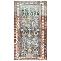 Antique Persian Bakhitari Rug with All-Over Patten in Steel Blue Background