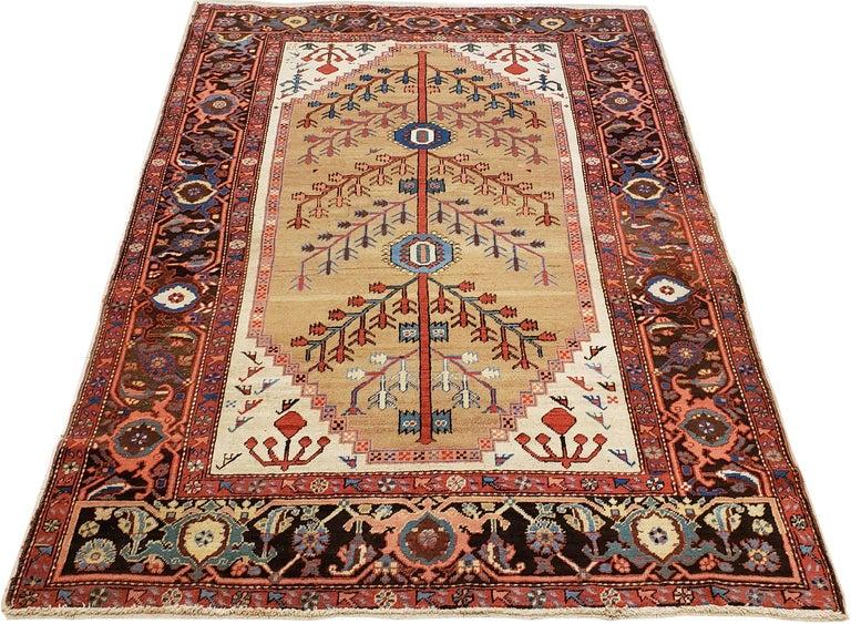 Antique Persian Bakhshaish Carpet, Handmade Wool Oriental Rug, Ivory Light Blue For Sale 4