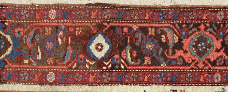 Bakshaish Antique Persian Bakhshaish Carpet, Handmade Wool Oriental Rug, Ivory Light Blue For Sale