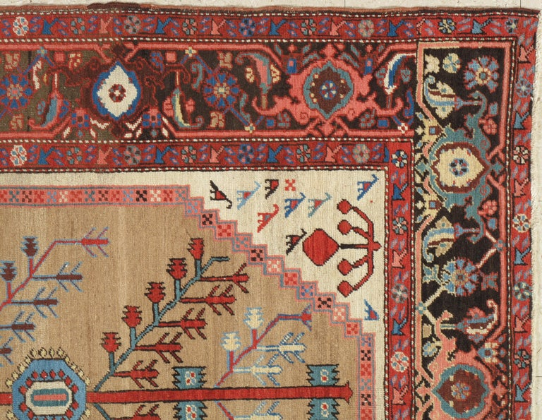 Hand-Knotted Antique Persian Bakhshaish Carpet, Handmade Wool Oriental Rug, Ivory Light Blue For Sale