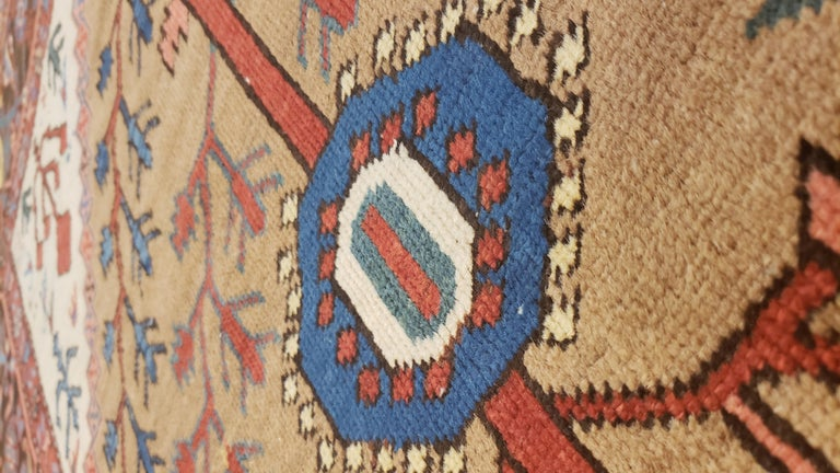Antique Persian Bakhshaish Carpet, Handmade Wool Oriental Rug, Ivory Light Blue In Excellent Condition For Sale In New York, NY