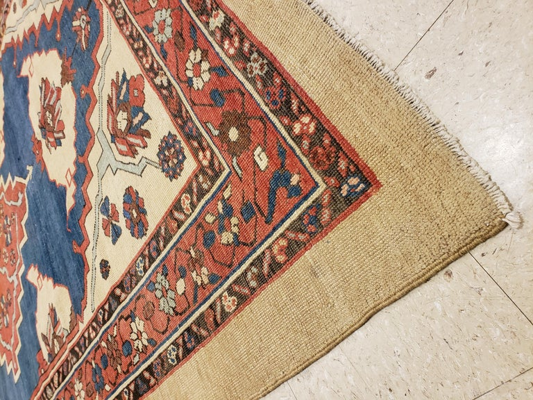 19th Century Antique Persian Bakhshaish Carpet, Handmade Wool Oriental Rug, Ivory Light Blue For Sale