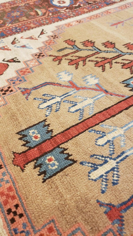 19th Century Antique Persian Bakhshaish Carpet, Handmade Wool Oriental Rug, Ivory Light Blue For Sale