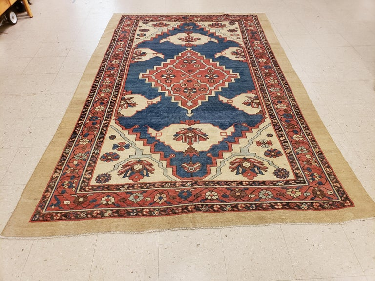 Antique Persian Bakhshaish Carpet, Handmade Wool Oriental Rug, Ivory Light Blue For Sale 1