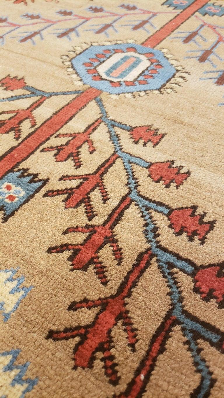 Antique Persian Bakhshaish Carpet, Handmade Wool Oriental Rug, Ivory Light Blue For Sale 1