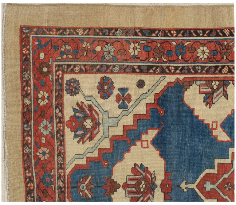 Antique Persian Bakhshaish Carpet, Handmade Wool Oriental Rug, Ivory Light Blue For Sale 2